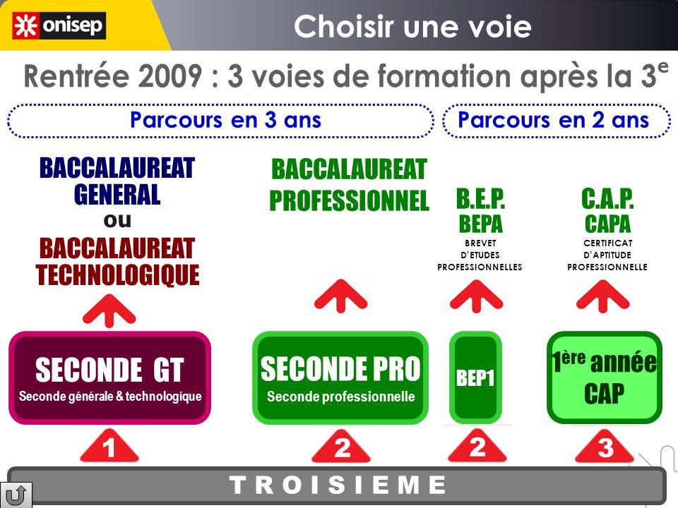 Choisir une voie Rentrée 2009 : 3 voies de formation après la 3