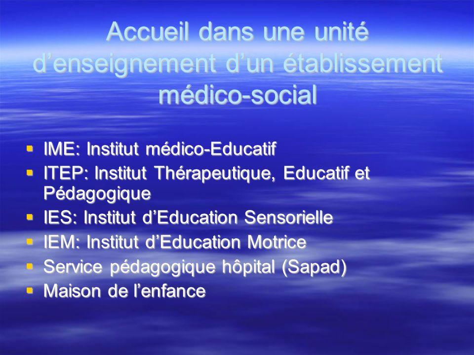 Accueil dans une unité d'enseignement d'un établissement médico-social