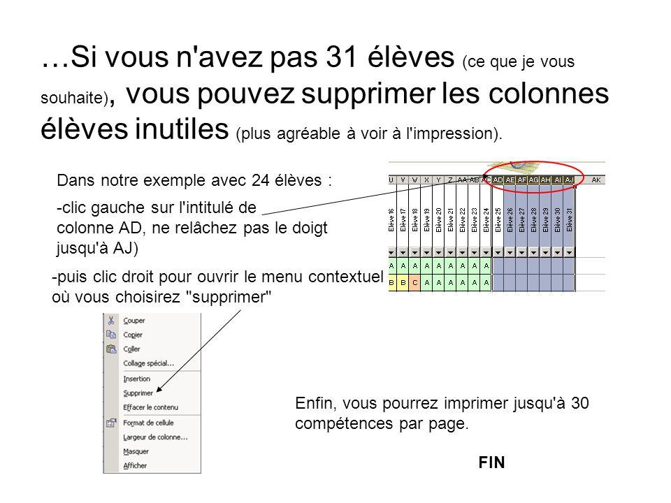…Si vous n avez pas 31 élèves (ce que je vous souhaite), vous pouvez supprimer les colonnes élèves inutiles (plus agréable à voir à l impression).