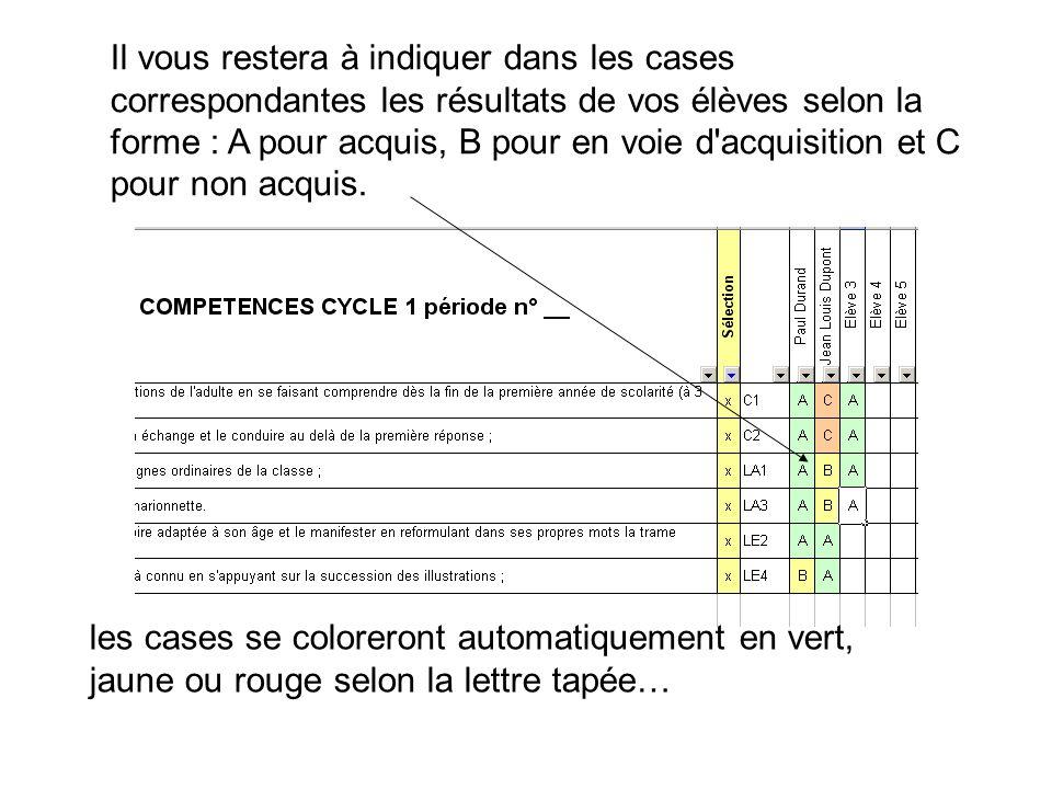 Il vous restera à indiquer dans les cases correspondantes les résultats de vos élèves selon la