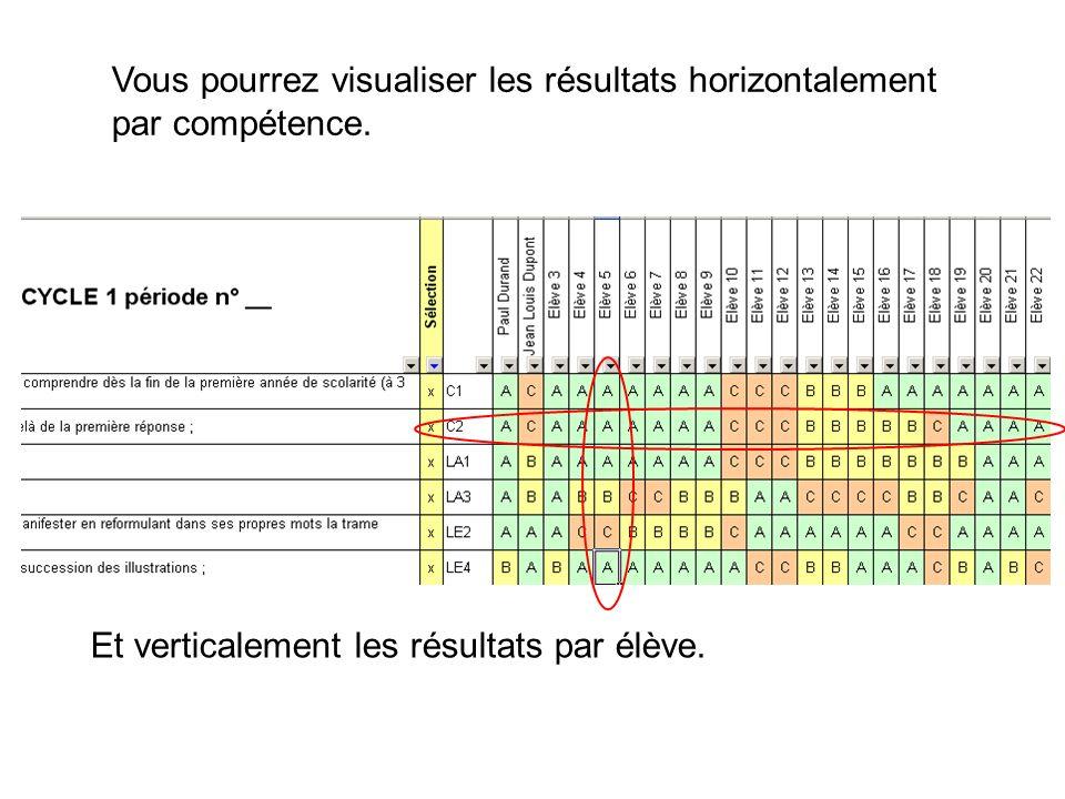 Vous pourrez visualiser les résultats horizontalement par compétence.