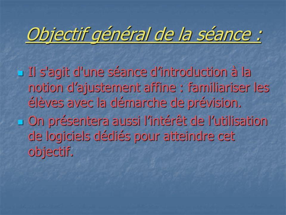Objectif général de la séance :