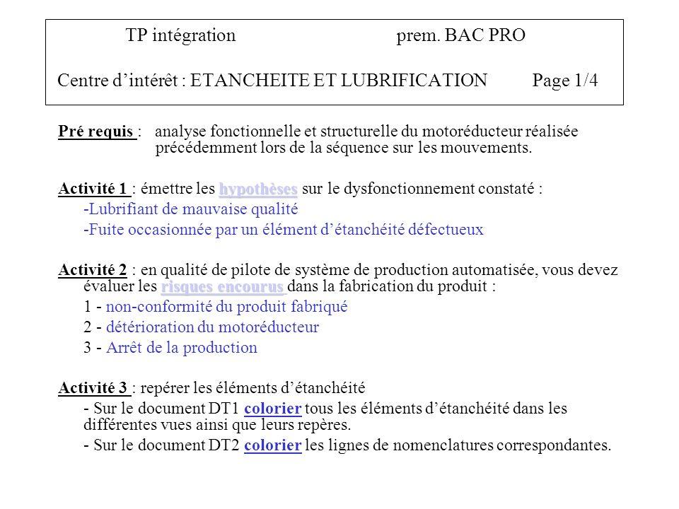 TP intégration prem. BAC PRO Centre d'intérêt : ETANCHEITE ET LUBRIFICATION Page 1/4