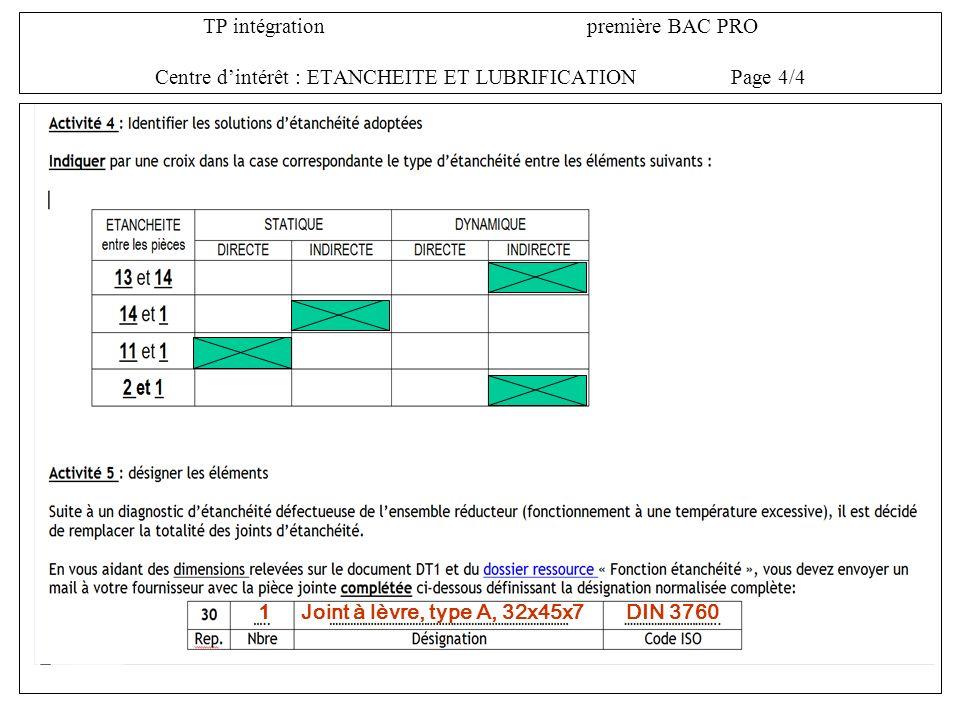 TP intégration première BAC PRO Centre d'intérêt : ETANCHEITE ET LUBRIFICATION Page 4/4