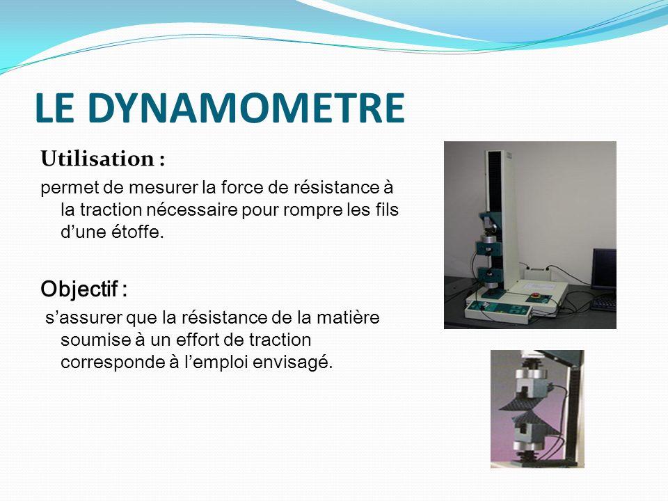 LE DYNAMOMETRE Utilisation : Objectif :