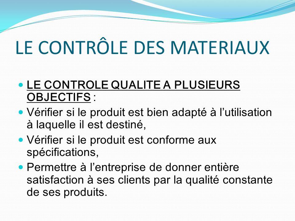 LE CONTRÔLE DES MATERIAUX
