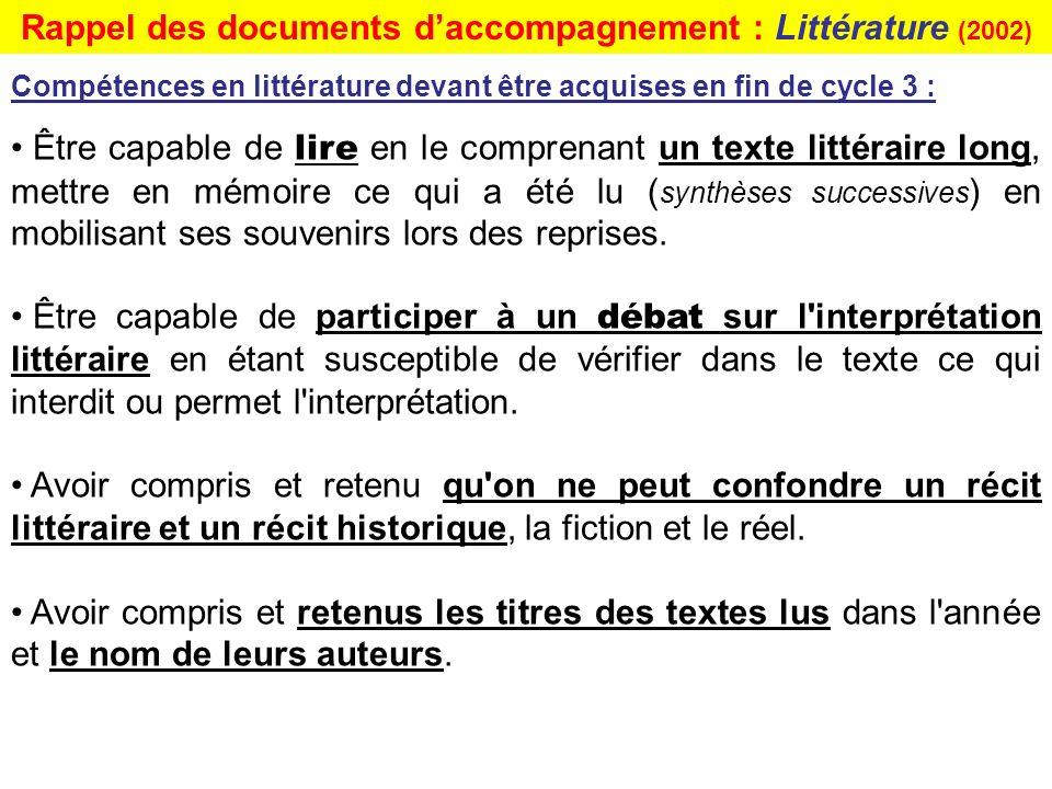 Rappel des documents d'accompagnement : Littérature (2002)