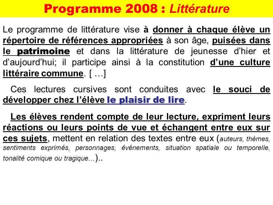 Programme 2008 : Littérature