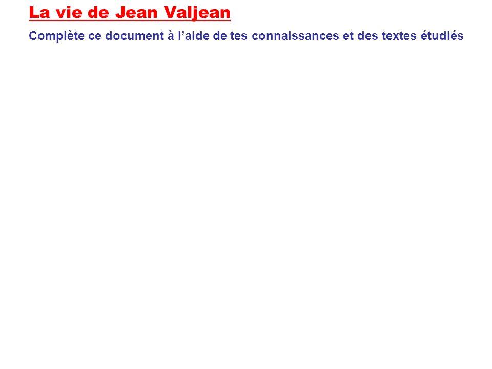 La vie de Jean Valjean Complète ce document à l'aide de tes connaissances et des textes étudiés