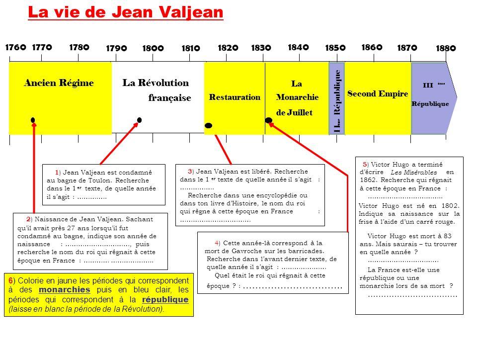La vie de Jean Valjean 1760. 1770. 1780. 1790. 1800. 1810. 1820. 1830. 1840. 1850. 1860. 1870.