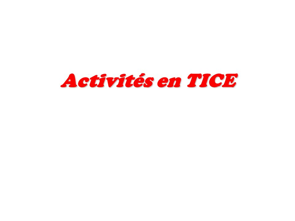 Activités en TICE