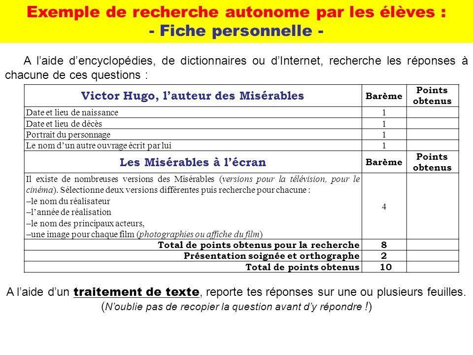 Exemple de recherche autonome par les élèves : - Fiche personnelle -