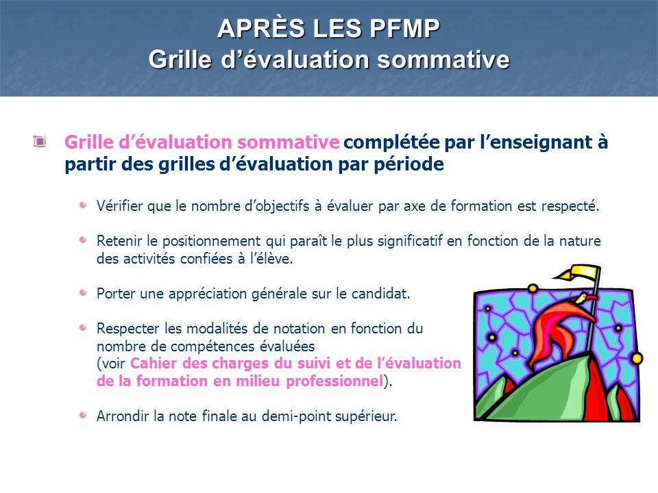 APRÈS LES PFMP Grille d'évaluation sommative