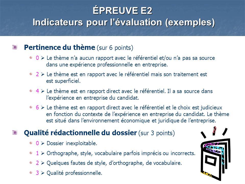 ÉPREUVE E2 Indicateurs pour l'évaluation (exemples)