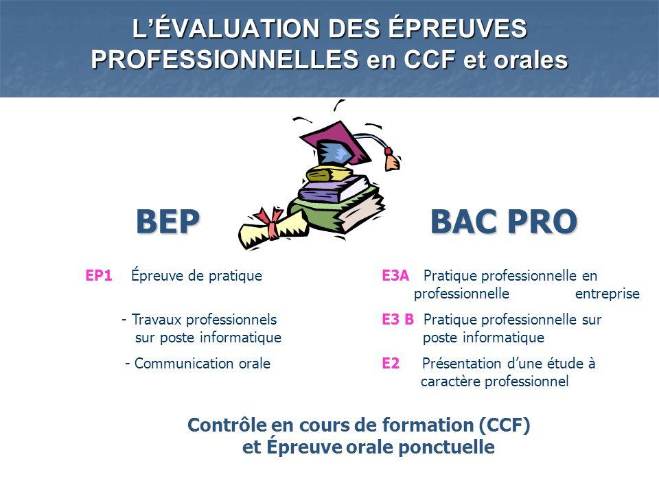 L'ÉVALUATION DES ÉPREUVES PROFESSIONNELLES en CCF et orales