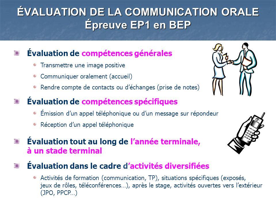 ÉVALUATION DE LA COMMUNICATION ORALE Épreuve EP1 en BEP