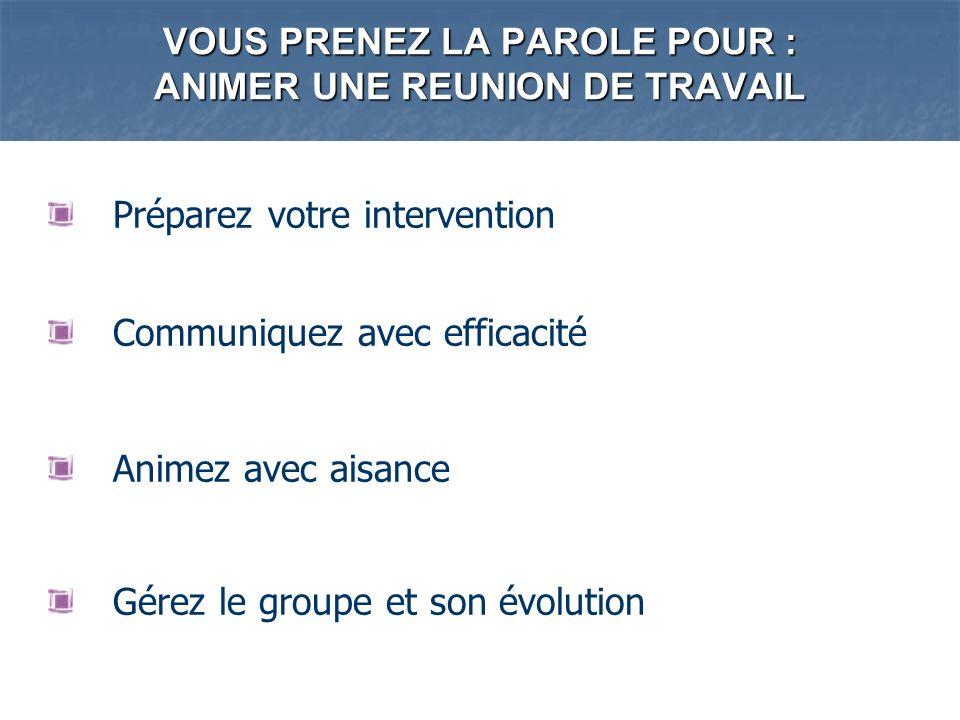VOUS PRENEZ LA PAROLE POUR : ANIMER UNE REUNION DE TRAVAIL