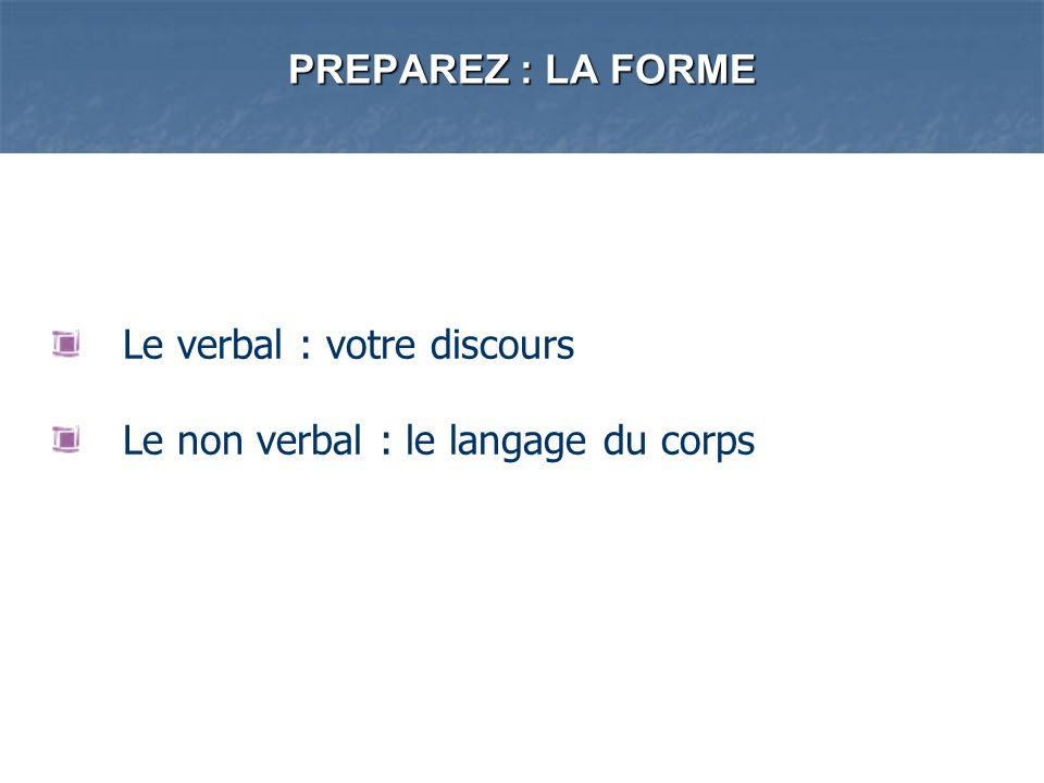 PREPAREZ : LA FORME Le verbal : votre discours Le non verbal : le langage du corps