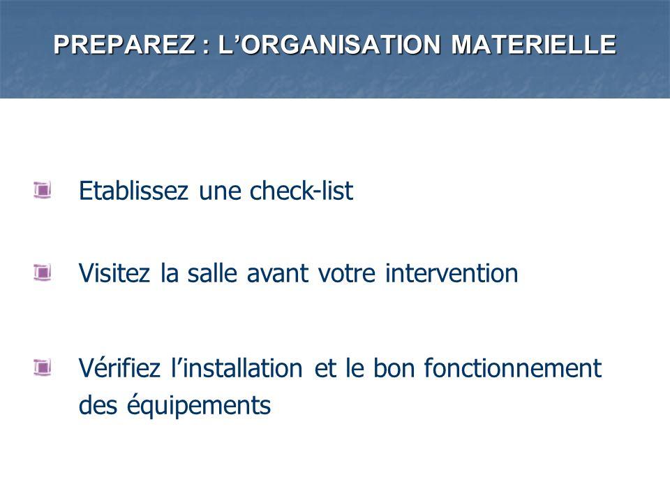 PREPAREZ : L'ORGANISATION MATERIELLE