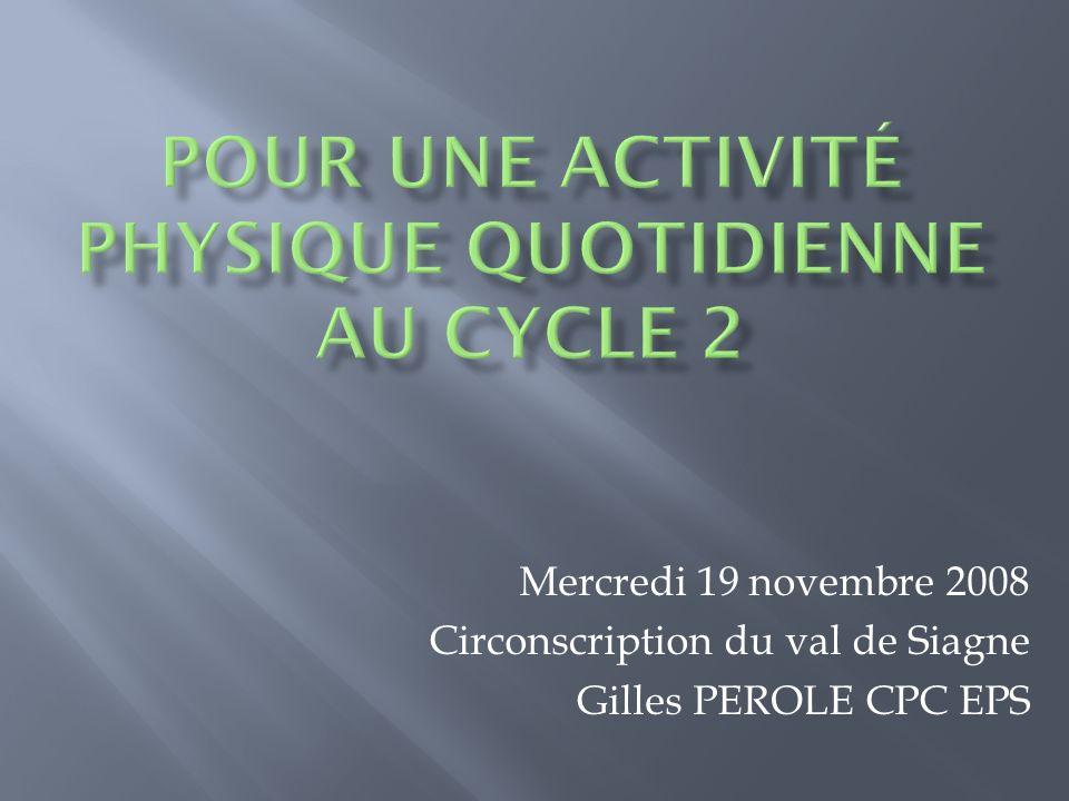Pour une activité physique quotidienne au cycle 2