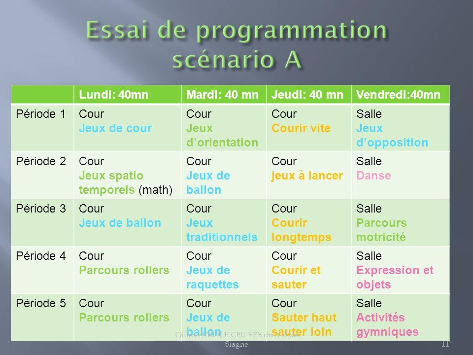 Essai de programmation scénario A