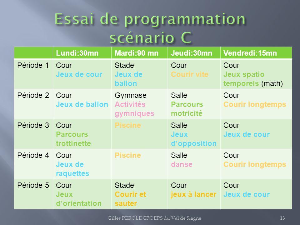 Essai de programmation scénario C
