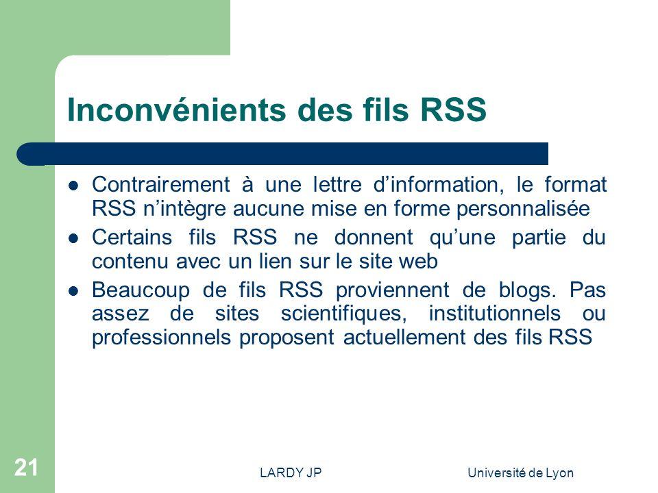 Inconvénients des fils RSS