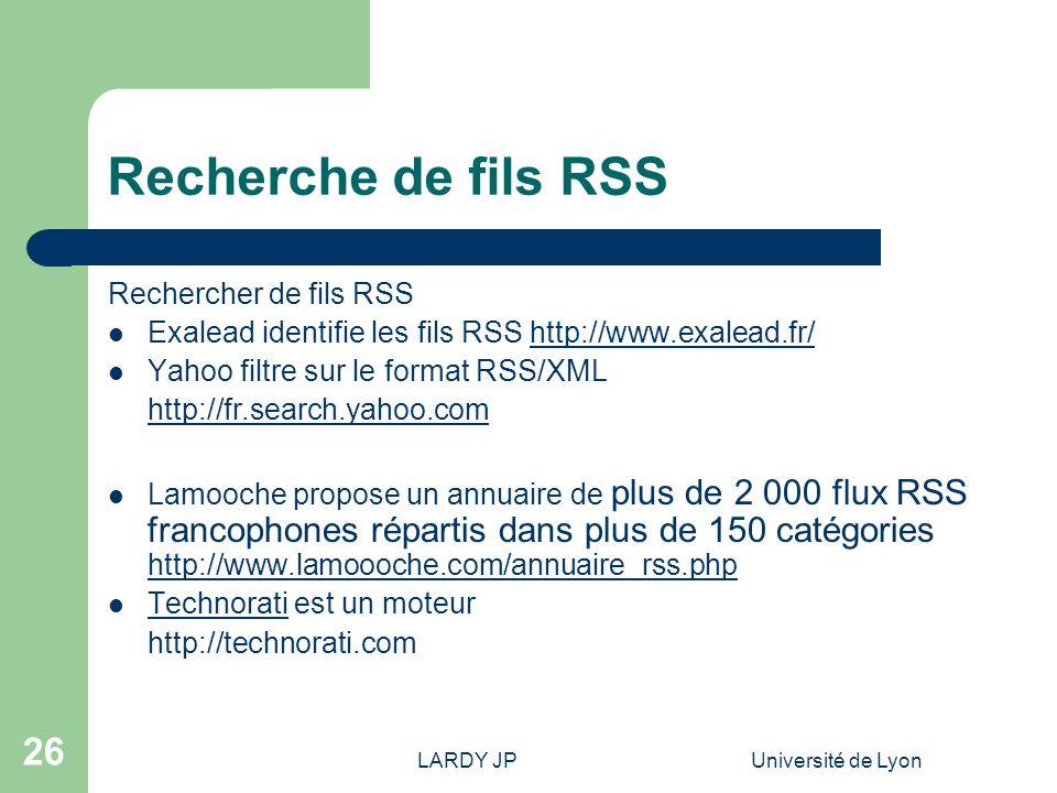 Recherche de fils RSS Rechercher de fils RSS