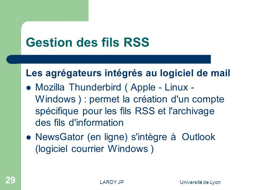Gestion des fils RSS Les agrégateurs intégrés au logiciel de mail
