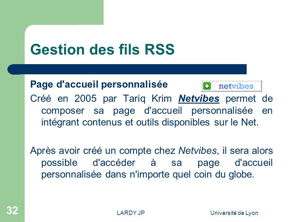 Gestion des fils RSS Page d accueil personnalisée