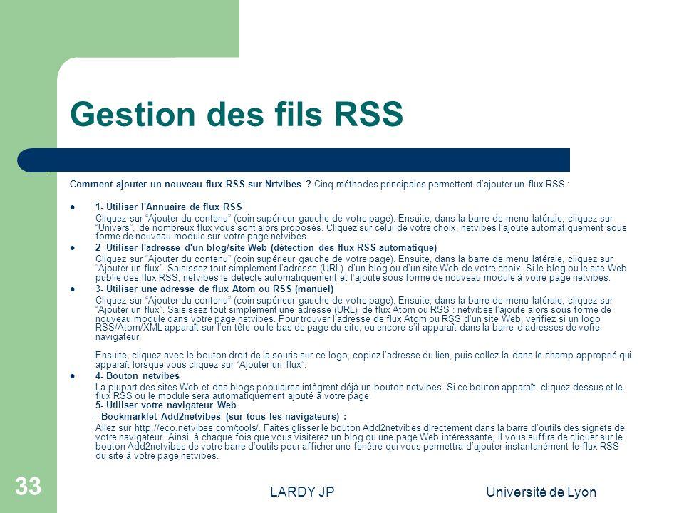 Gestion des fils RSS LARDY JP Université de Lyon