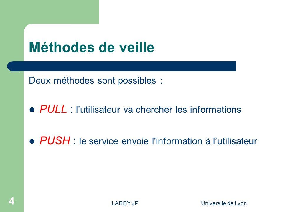 Méthodes de veille PULL : l'utilisateur va chercher les informations