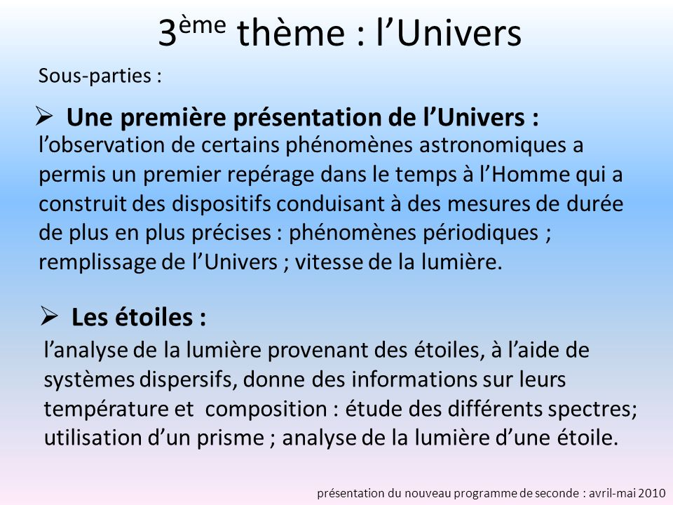 3ème thème : l'Univers Une première présentation de l'Univers :