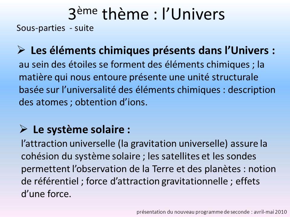 3ème thème : l'Univers Sous-parties - suite. Les éléments chimiques présents dans l'Univers :