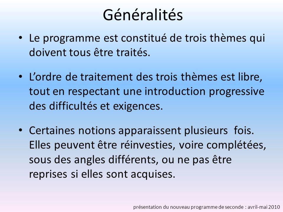Généralités Le programme est constitué de trois thèmes qui doivent tous être traités.