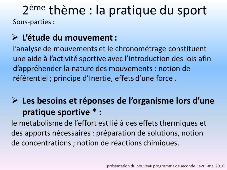 2ème thème : la pratique du sport