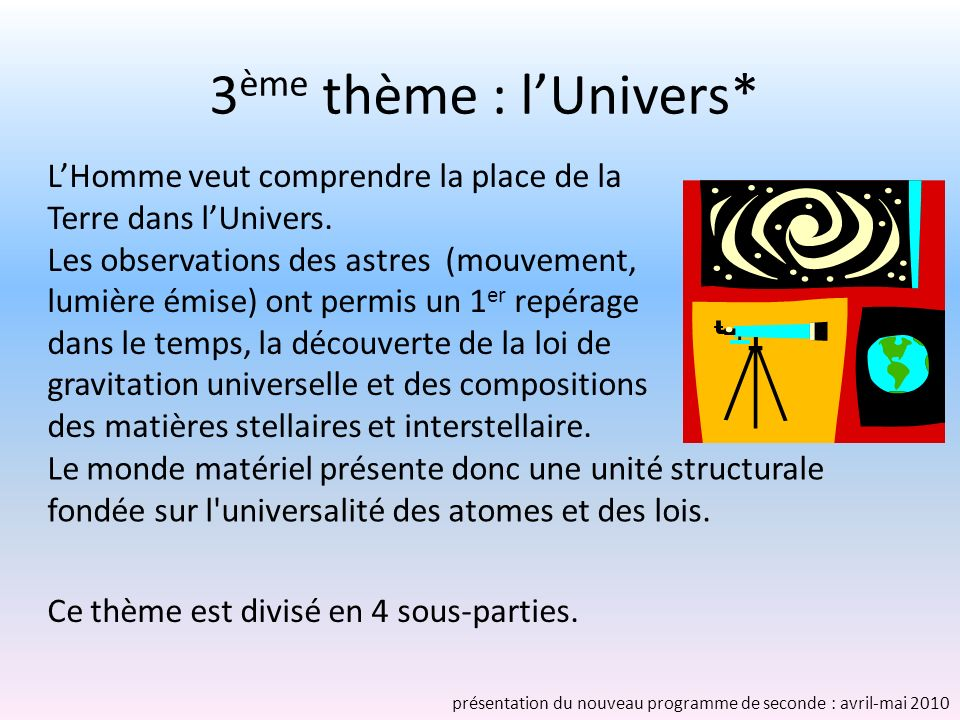 3ème thème : l'Univers* L'Homme veut comprendre la place de la Terre dans l'Univers.