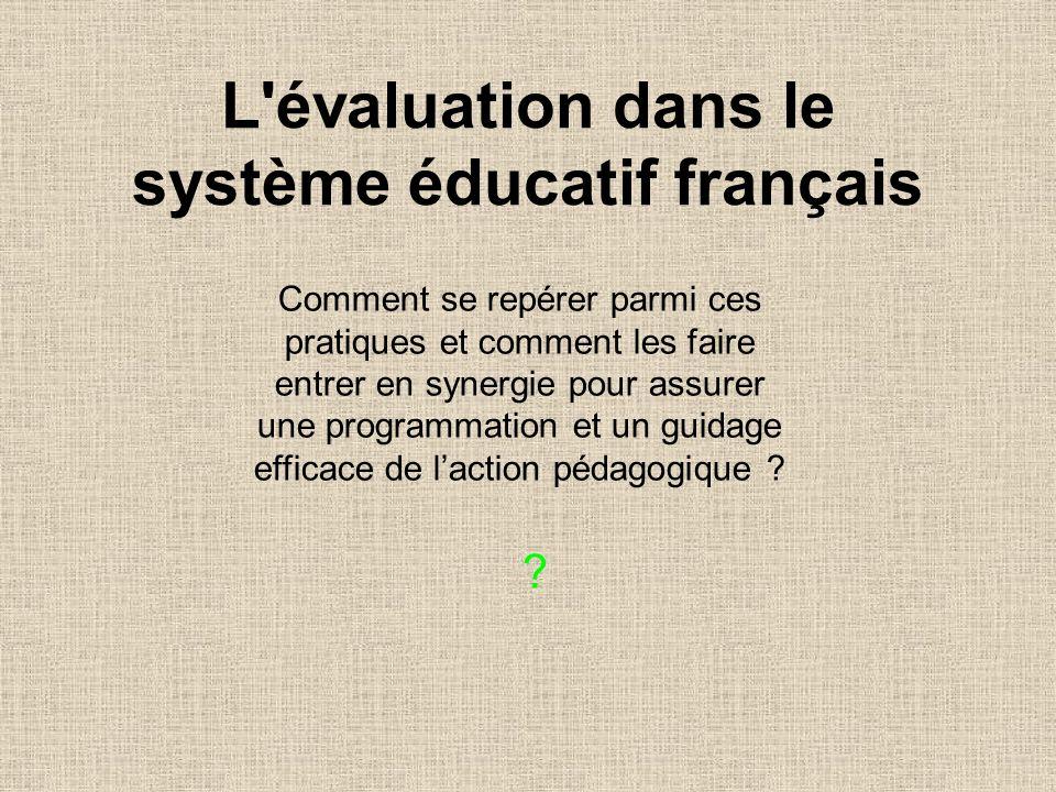 L évaluation dans le système éducatif français