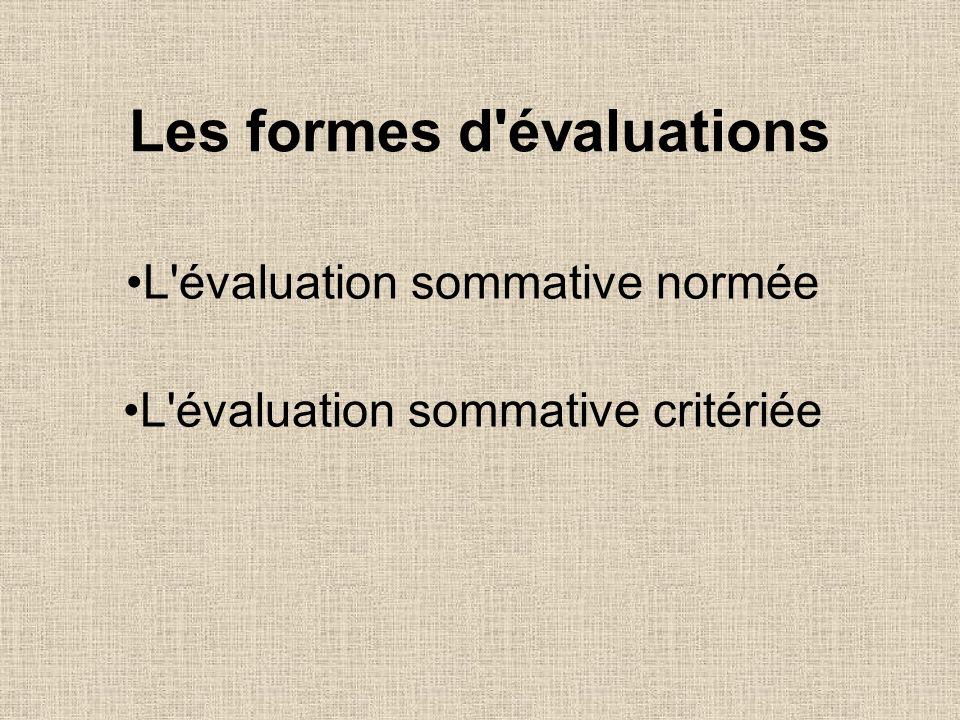 Les formes d évaluations