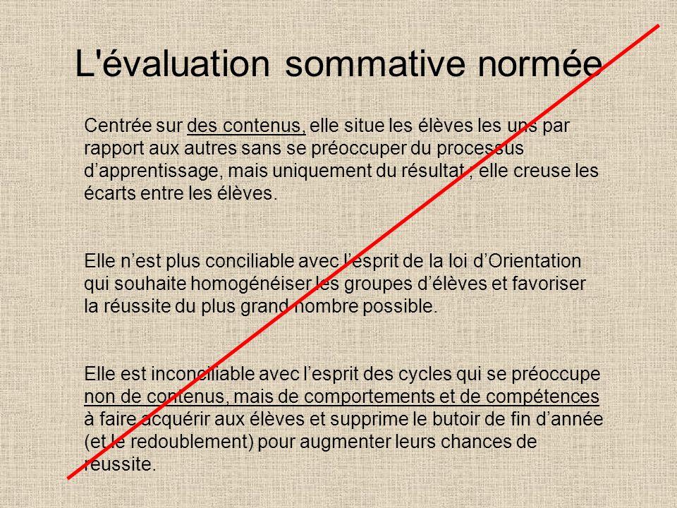 L évaluation sommative normée