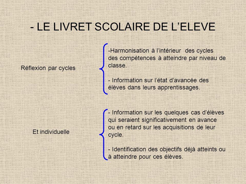 - LE LIVRET SCOLAIRE DE L'ELEVE