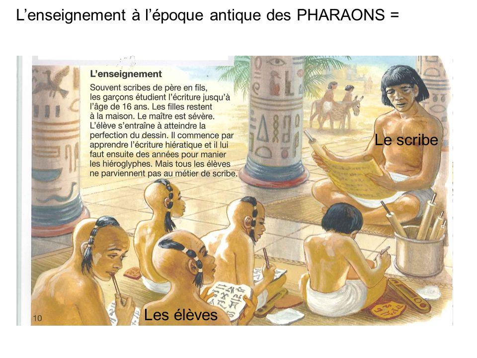 L'enseignement à l'époque antique des PHARAONS =