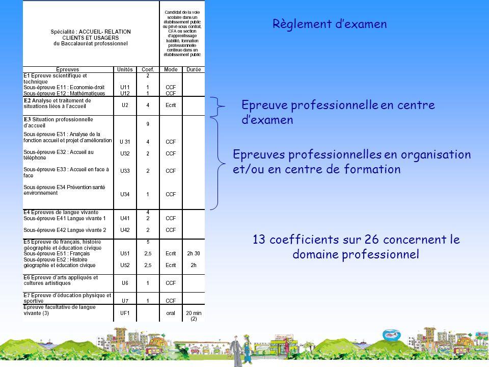 13 coefficients sur 26 concernent le domaine professionnel