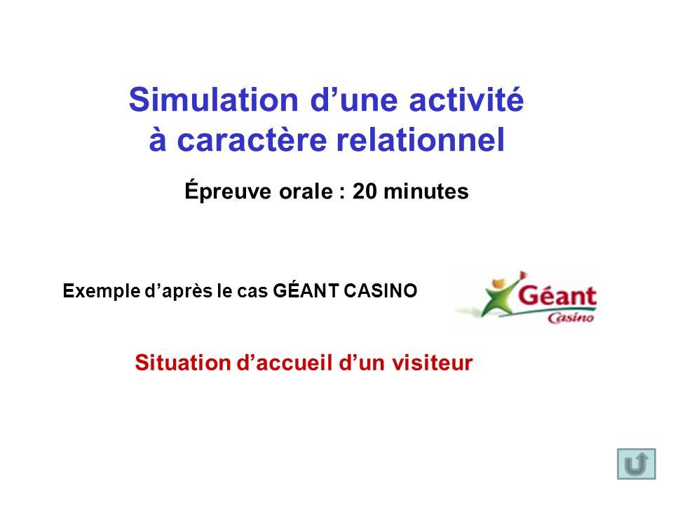 Simulation d'une activité à caractère relationnel Épreuve orale : 20 minutes