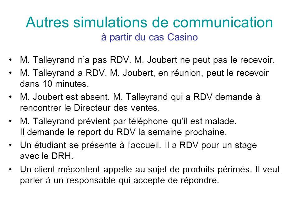Autres simulations de communication à partir du cas Casino