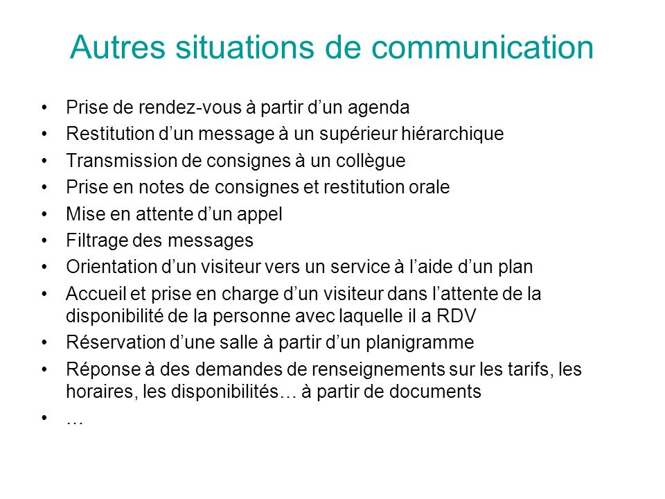 Autres situations de communication