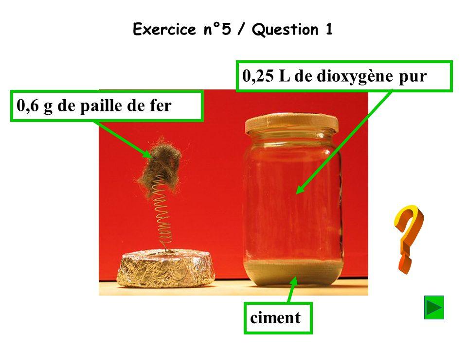 0,25 L de dioxygène pur 0,6 g de paille de fer ciment