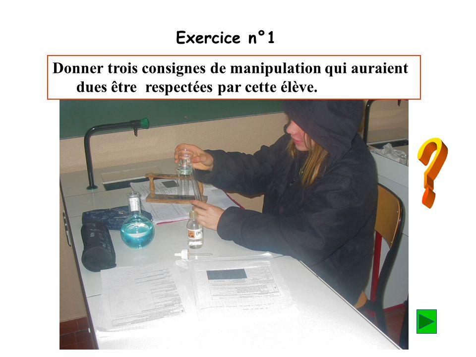 Exercice n°1 Donner trois consignes de manipulation qui auraient dues être respectées par cette élève.