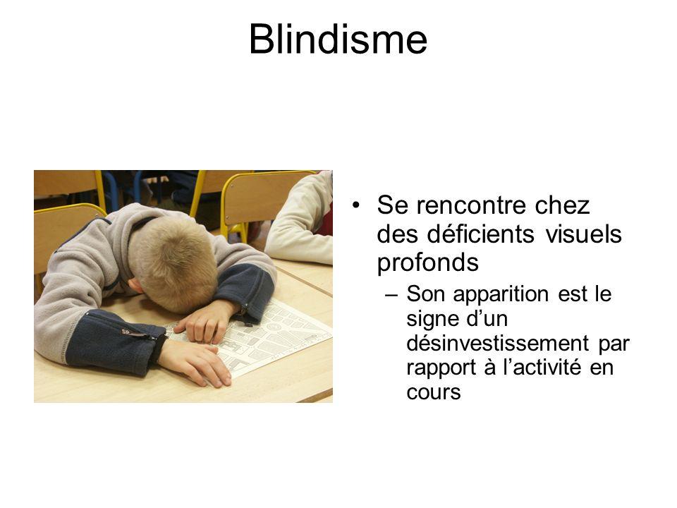 Blindisme Se rencontre chez des déficients visuels profonds