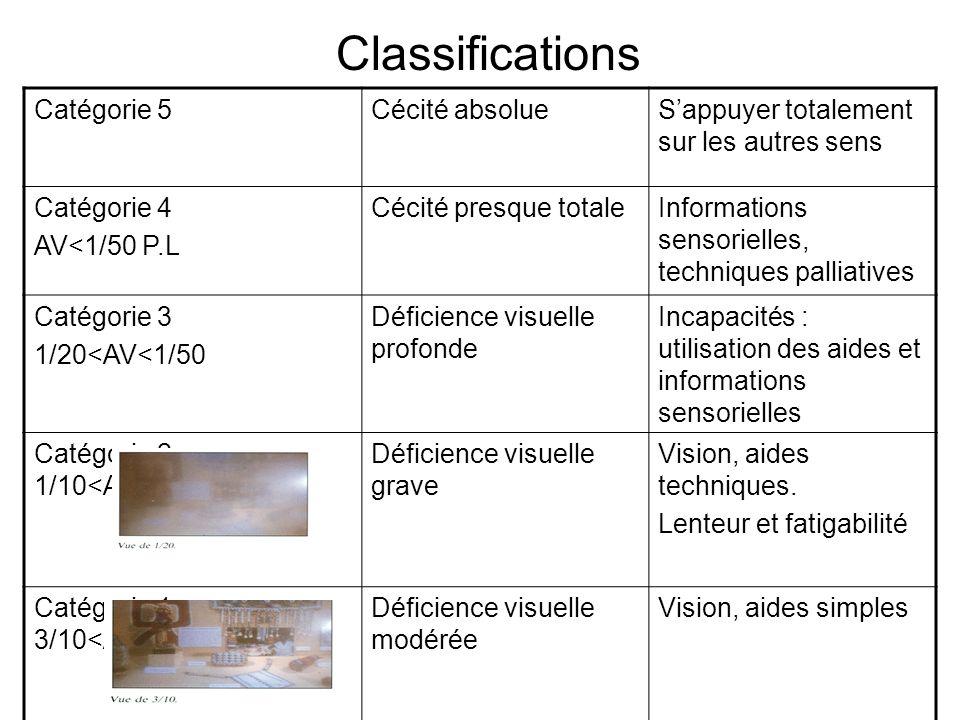 Classifications Catégorie 5 Cécité absolue